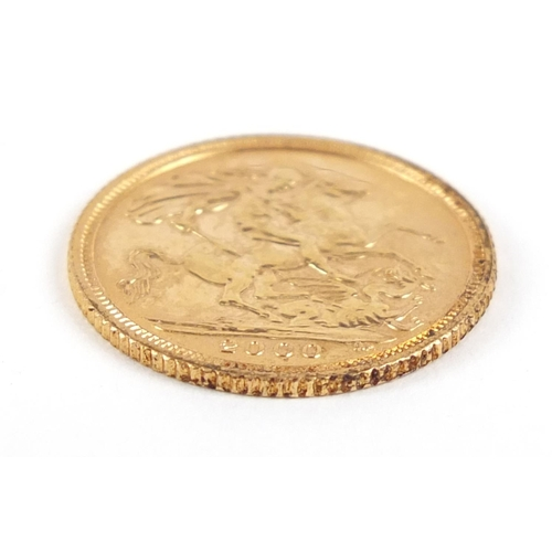 27 - Elizabeth II 2000 gold half sovereign - this lot is sold without buyer's premium, the hammer price i...