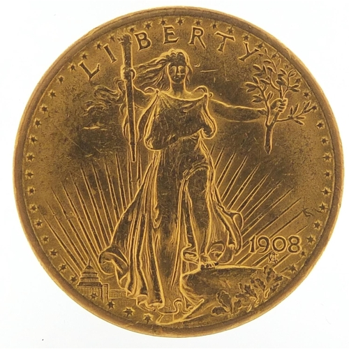 5 - United States of America 1908 gold twenty dollars, 33.6g - this lot is sold without buyer's premium,...