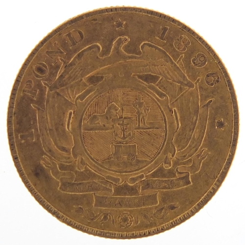 16 - South African 1896 gold one pond - this lot is sold without buyer's premium, the hammer price is the...