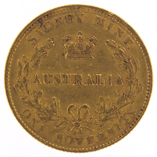 17 - Australian Victoria Young Head 1866 gold sovereign, Sydney mint - this lot is sold without buyer's p...
