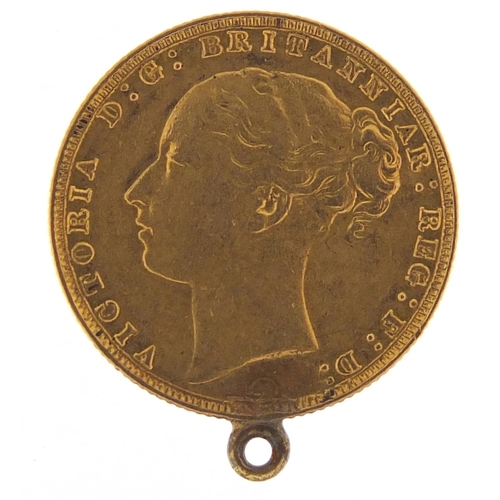 42 - Victoria Young Head 1877 gold sovereign with mount - this lot is sold without buyer's premium, the h...