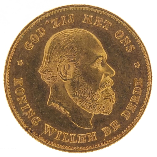 33 - Dutch 1875 gold ten guilders, 6.7g - this lot is sold without buyer's premium, the hammer price is t...