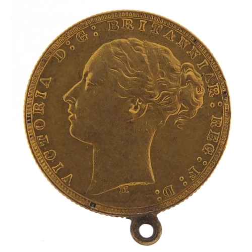55 - Victoria Young Head 1874 gold sovereign with mount, Melbourne mint - this lot is sold without buyer'...