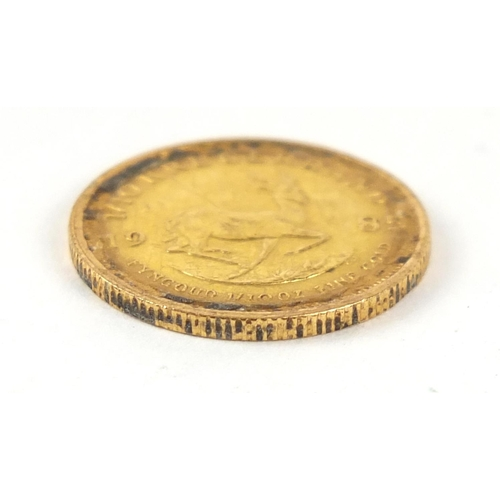 44 - South African 1985 gold 1/10th krugerrand - this lot is sold without buyer's premium, the hammer pri...