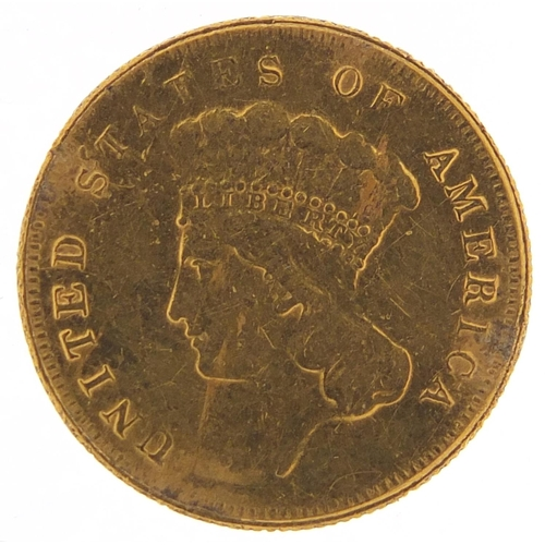 36 - United States of America 1855 gold three dollars with Indian Princess head, 5.0g - this lot is sold ...