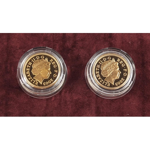 1 - United Kingdom 2003 gold proof Pattern Collection comprising four £1 coins with box, 78.4g - this lo...