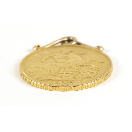 3 - Queen Victoria Jubilee Head 1887 gold double sovereign with pendant mount, 16.9g - this lot is sold ...