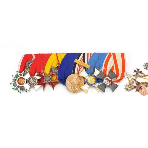 1356 - Foreign military interest medals and dress medals including Order of the Griffon with fitted case