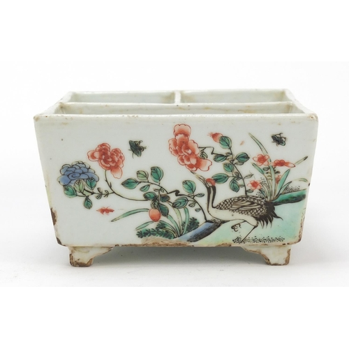 28 - Chinese porcelain sectional four footed planter hand painted in the famille verte palette with birds...