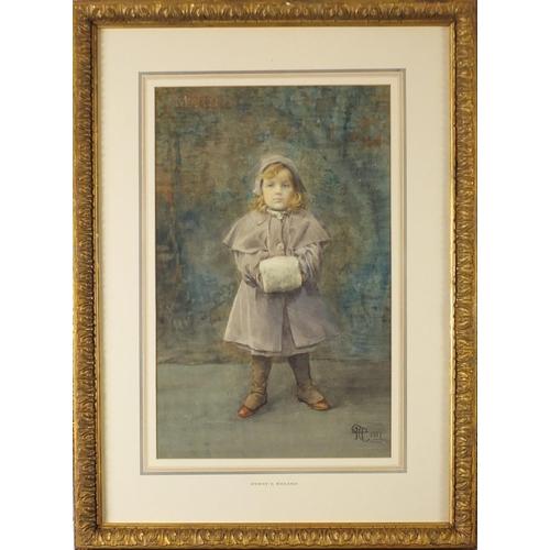 43 - Henry Meynell Rheam 1907 - Mary, full length portrait of a young girl, Newlyn school watercolour, Ri...