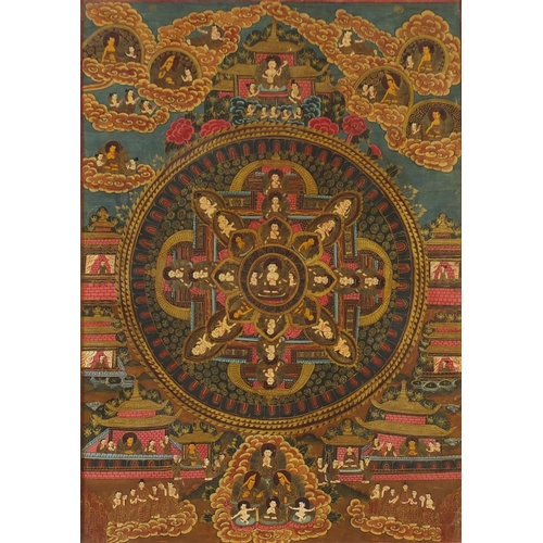 Tibetan thangka hand painted with deities, framed and glazed, 52cm x 37cm excluding the frame