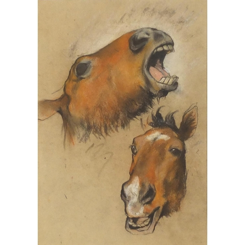 45 - Arthur Wardle - Equestrian study, pastel, chalk and charcoal, mounted, framed and glazed, 33cm x 22....