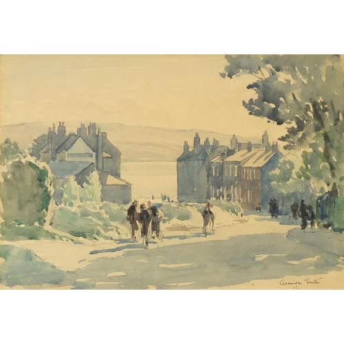 47 - Grainger Smith - Figures in street leading to seashore, signed watercolour, mounted, framed and glaz...