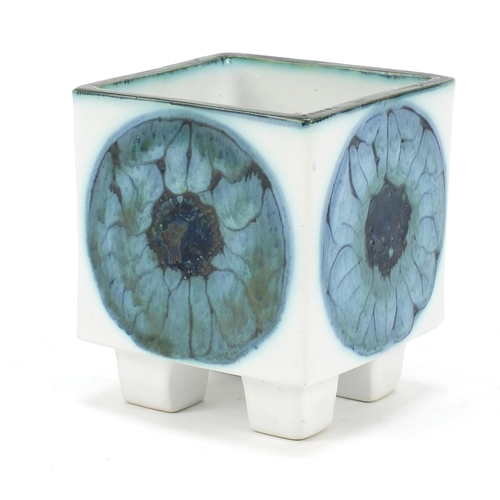 7 - Troika St Ives Pottery four footed cube vase, 9cm high x 8cm square...