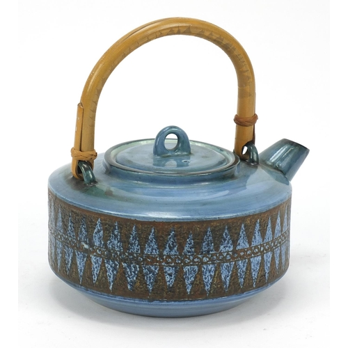 8 - Troika St Ives Pottery teapot with bamboo handle hand painted with geometric motifs, 21cm in length...