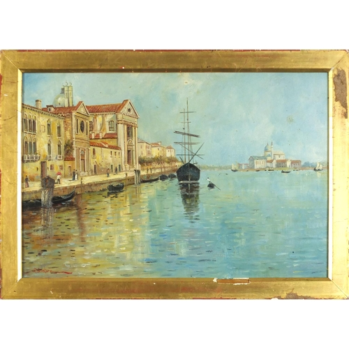 48 - Venetian canal with gondola's, oil on board, framed, 51cm x 34cm excluding the frame...