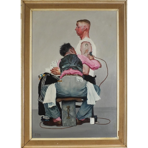 44 - After Norman Rockwell - The tattoo artist, American school oil on board, mounted and framed, 90cm x ...