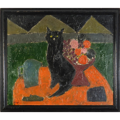 46 - Abstract composition, cat with still life before pyramids, Scottish school oil on board, framed, 65c...