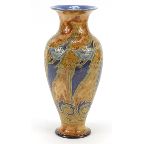 57 - Eliza Simmance for Royal Doulton, Art Nouveau vase hand painted and incised with stylised flowers, 3...