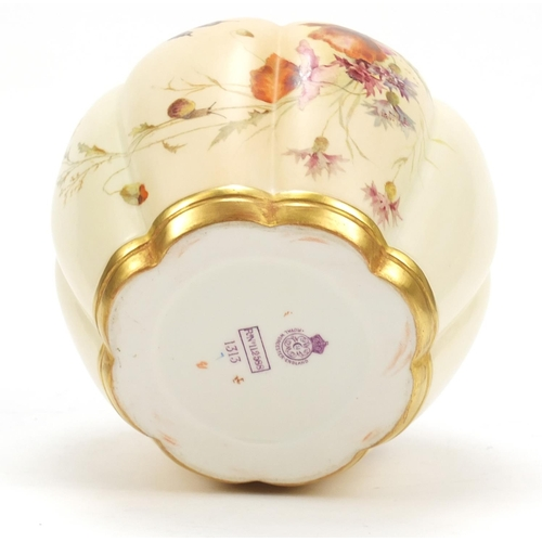 54 - Royal Worcester, Victorian potpourri vase with pierced cover, decorated and gilded with a butterfly ...