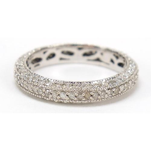 38 - 9ct white gold diamond eternity ring, size L, 2.1g...