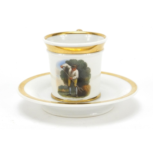 16 - Chamberlains Worcester, early 19th century miniature cabinet cup and saucer hand painted with a farm...
