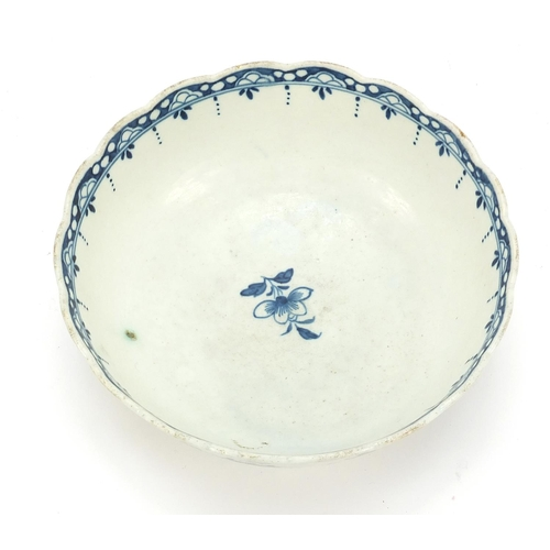 17 - 18th century English porcelain bowl hand painted with flowers, possibly Worcester, 15.5cm in diamete...