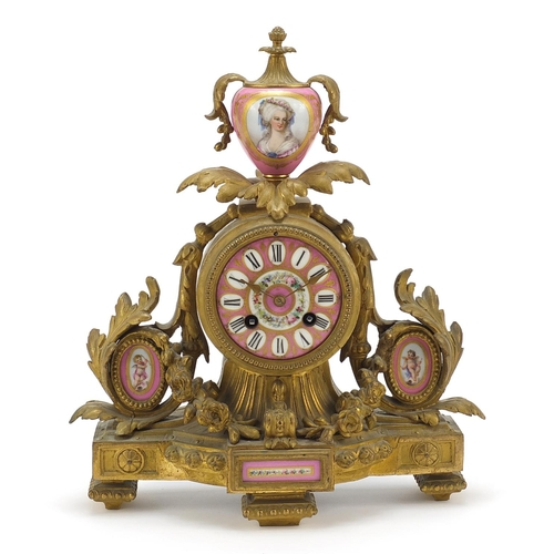 3 - 19th century French Ormolu mantle clock striking on a bell, with Sèvres type porcelain panels hand p...