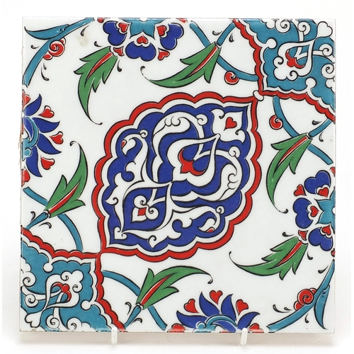 Turkish Kutahya pottery tile hand painted with flowers, 20cm x 20cm