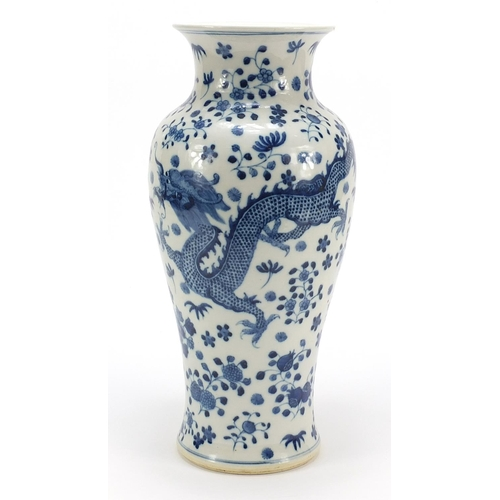 21 - Large Chinese blue and white porcelain vase hand painted with dragons amongst flowers, four figure c...