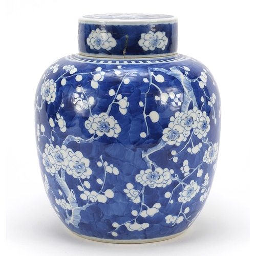 22 - Large Chinese blue and white porcelain ginger jar with cover hand painted with prunus flowers, Kangx...