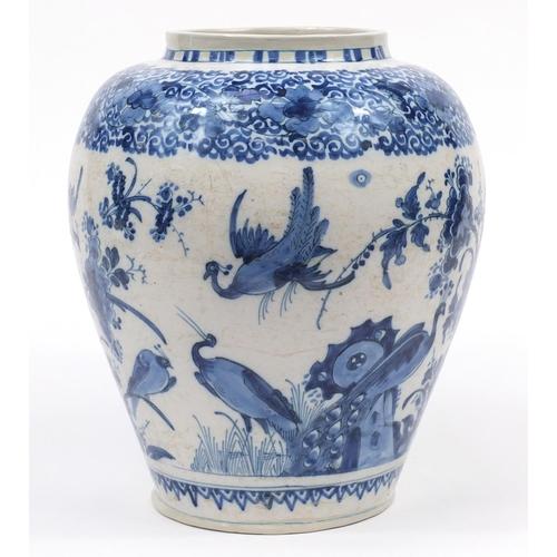 Gisbrecht Lambrecht Kruyk, antique tin glaze vase hand painted with birds amongst flowers, 29cm high