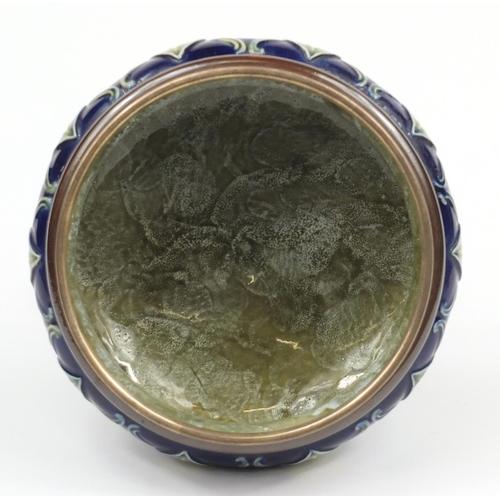 59 - Royal Doulton, Art Nouveau silver mounted pedestal bowl with silver servers, the bowl hallmarked Lon...