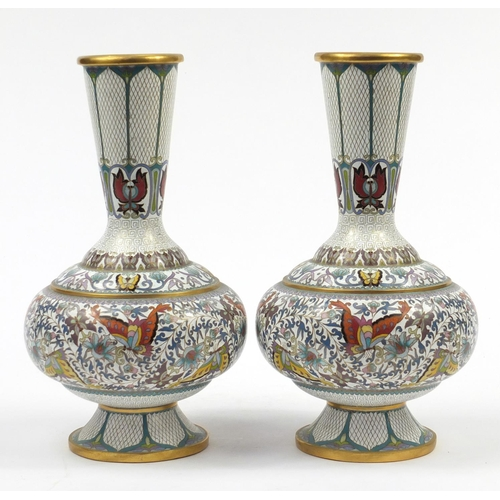 33 - Pair of Chinese cloisonné vases enamelled with butterflies amongst flower heads and scrolling foliag...