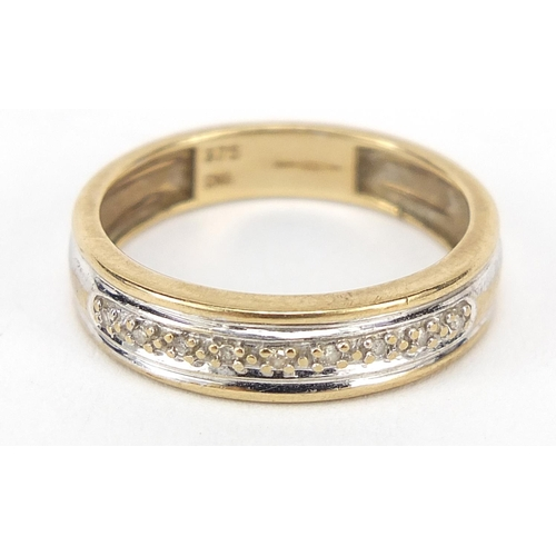 9ct two tone gold diamond half eternity ring, size O, 2.2g