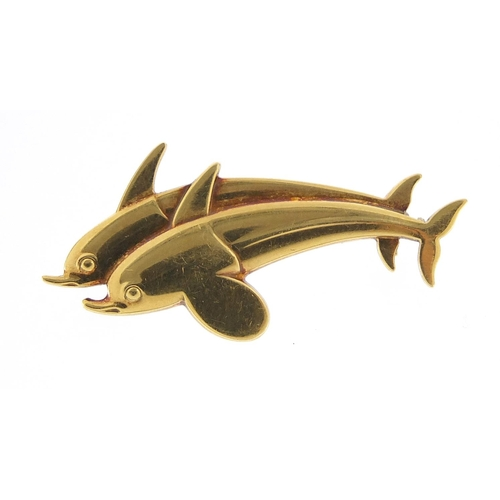 40 - Harald Nielsen for Georg Jensen, Danish 18ct gold dolphin brooch, numbered 1317, 4cm wide, 7.8g...