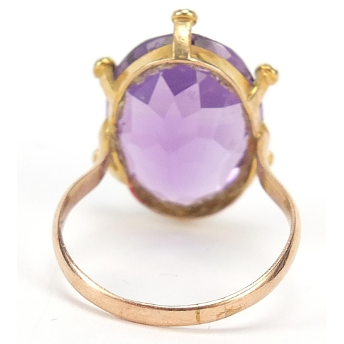 41 - Large unmarked gold amethyst and seed pearl ring, size O, 5.2g...