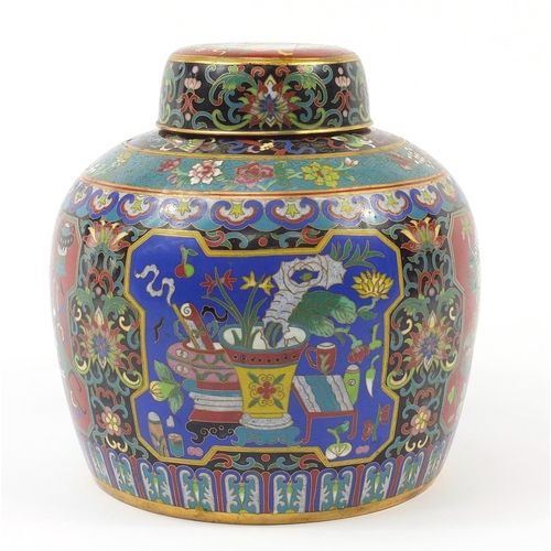 31 - Large Chinese cloisonné ginger jar and cover finely enamelled with panels of lucky objects and flowe...