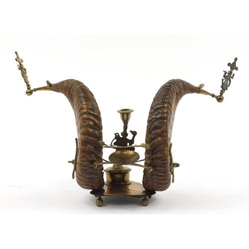 11 - Staghorn brass mounted desk stand with pen rack and inkwell, 47cm wide...