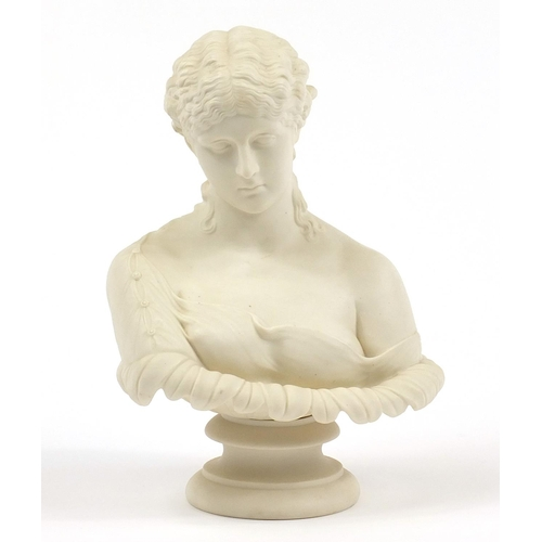 51 - 19th century Copeland style parian bust of a scantily dressed female, 28cm high...