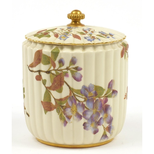 53 - Royal Worcester, Victorian blush ivory biscuit barrel and cover decorated and gilded with flowers nu...