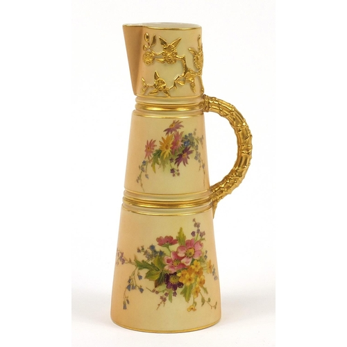 55 - Royal Worcester, Victorian blush ivory tapering jug decorated and gilded with flowers, numbered 1047...