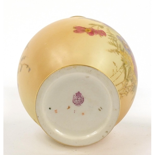 56 - Royal Worcester, Victorian blush ivory vase decorated and gilded with flowers, 23.5cm high...