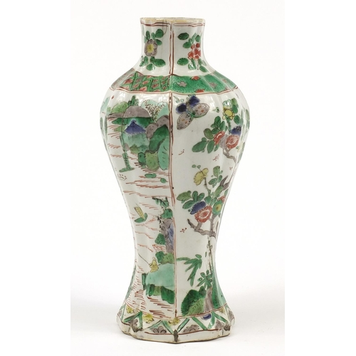 19 - Chinese porcelain vase hand painted in the Wucai palette with panels of landscapes and flowers, 25.5...