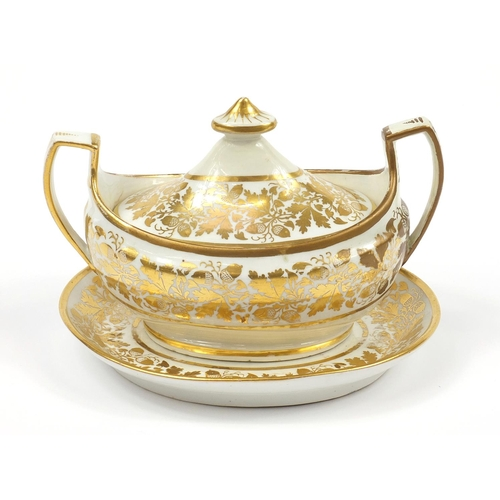 50 - Chamberlain's Worcester, 19th century sauce tureen with twin handles and cover on stand gilded with ...