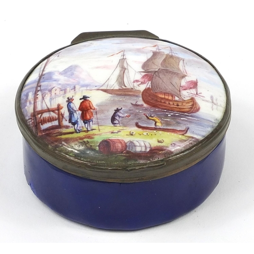2 - 18th century Bilston enamel patch box hand painted with figures before boats in water, 6cm in diamet...