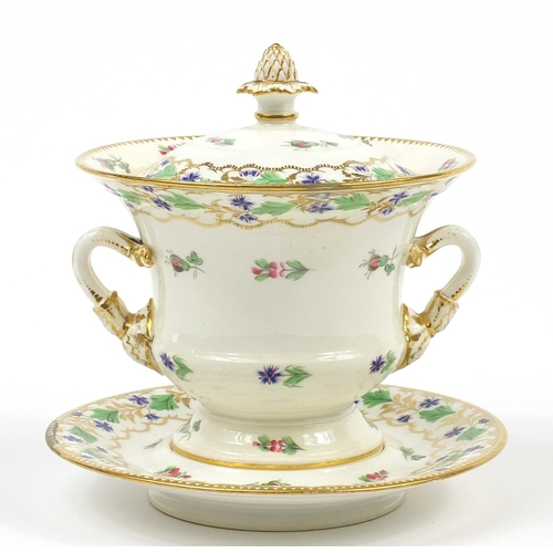 49 - 19th century porcelain sauce tureen with cover on stand, hand painted and gilded with floral sprays,...
