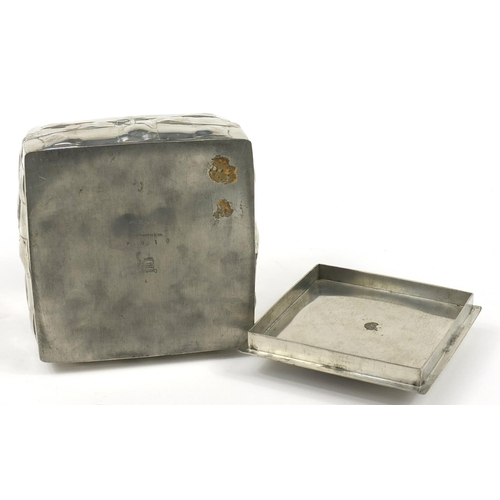 4 - Archibald Knox for Liberty & Co, Arts & Crafts Tudric pewter biscuit box and cover cast with squared...