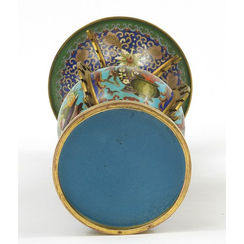 30 - Good Chinese cloisonné archaic style vase enamelled with flowers and fruit, 26cm high...