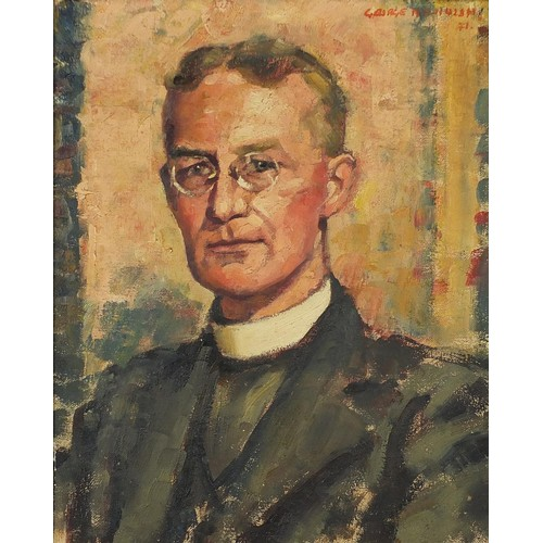 George Melhuish - Portrait of Reverend Canon A Millbourn, oil on canvas, label verso, framed, 59.5cm x 47.5cm excluding the frame